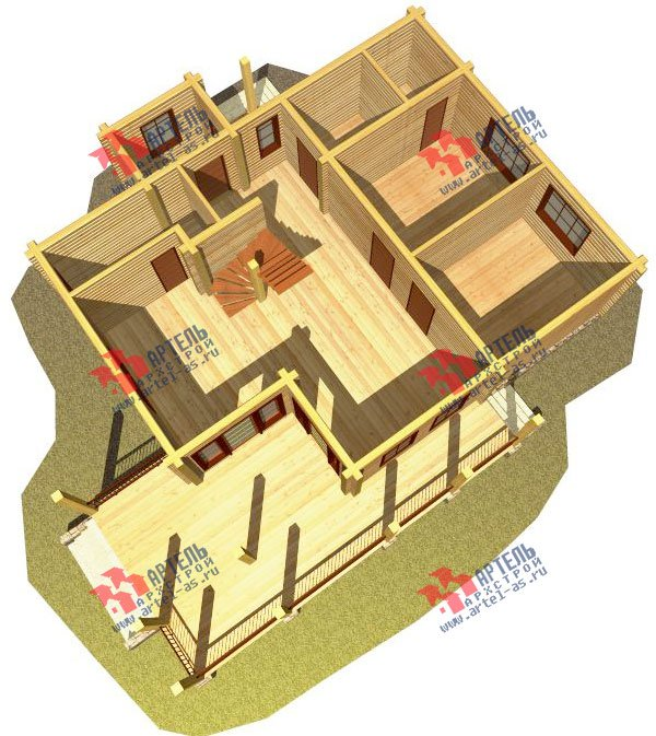 двухэтажный дом из профилированного бруса площадью от 150 до 200 кв. м. с  мансардой, террасой, проект Вариант 8.5 Л фотография 84