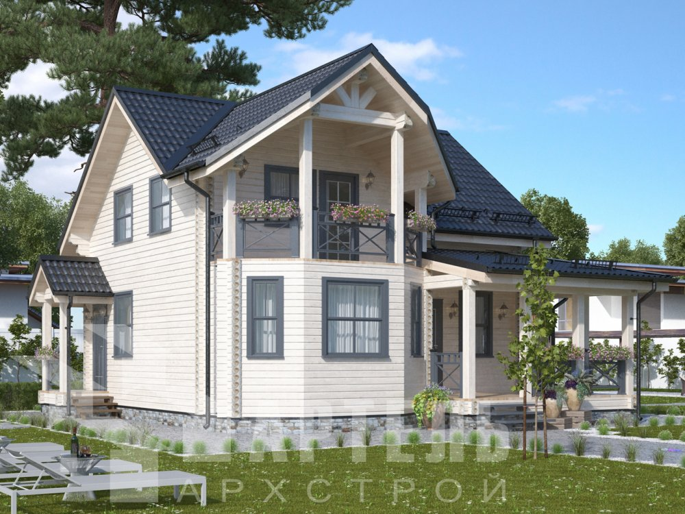 двухэтажный дом из профилированного бруса площадью от 100 до 150 кв. м. с  балконом, террасой, проект Вариант 10.7Л фотография 6543