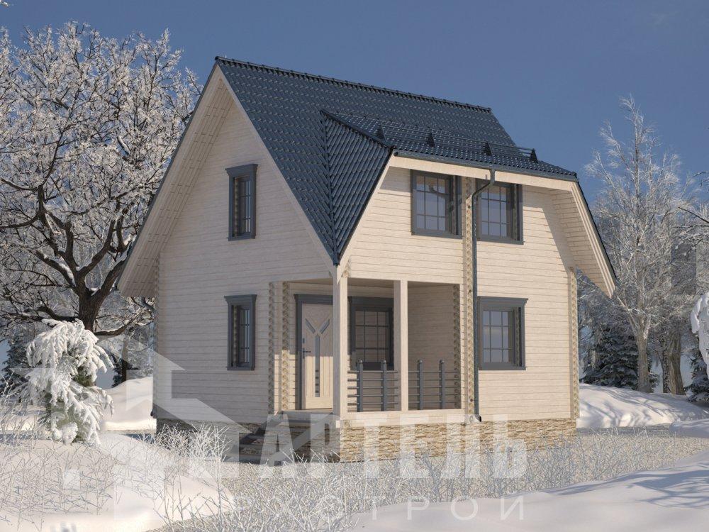 двухэтажный дом из профилированного бруса площадью до 100 кв. м. с  мансардой, проект Вариант 6 Д фотография 6565