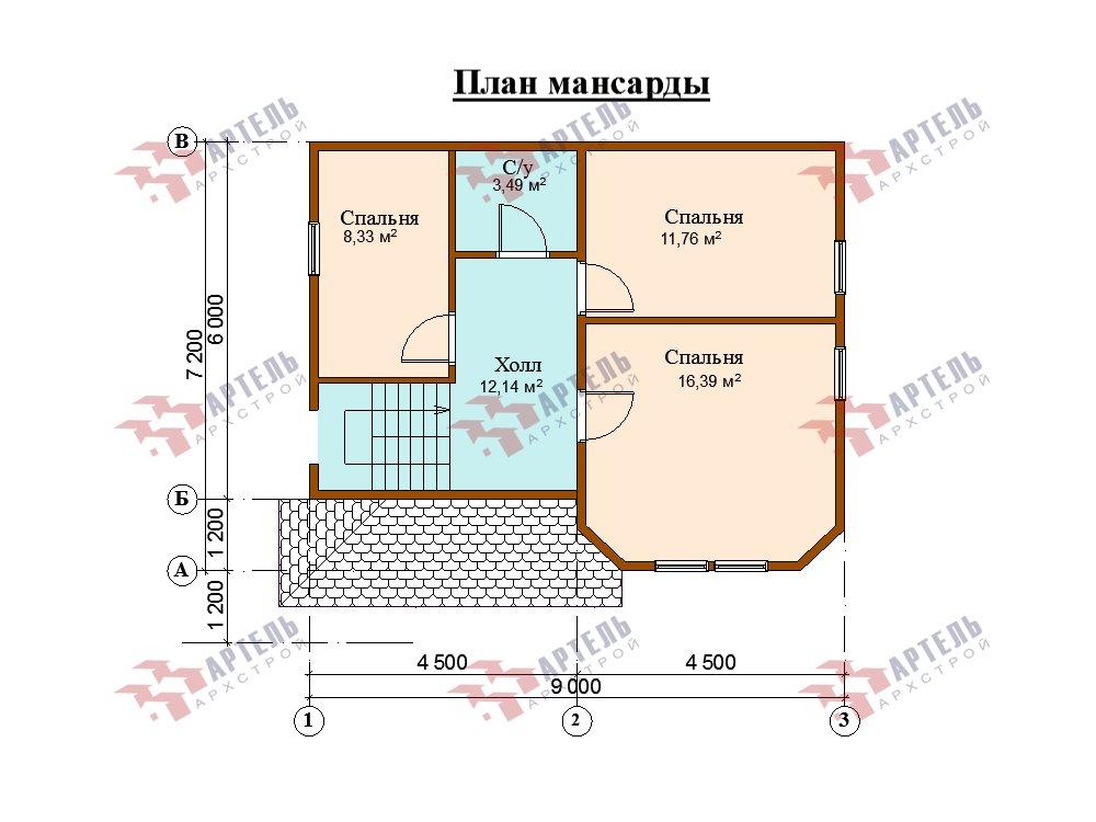 двухэтажный дом из профилированного бруса площадью от 100 до 150 кв. м. с  мансардой, эркером, проект Вариант 7.2 К фотография 5852