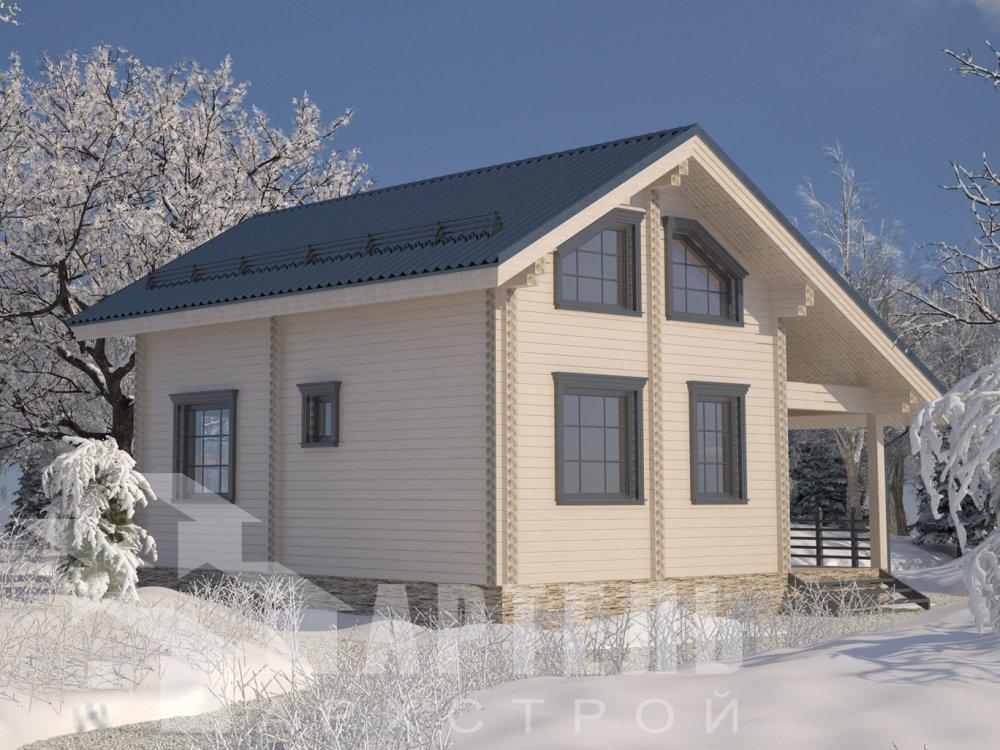 двухэтажный дом из профилированного бруса площадью от 100 до 150 кв. м. с  верандой, мансардой, эркером, проект Вариант 6 Л фотография 6623