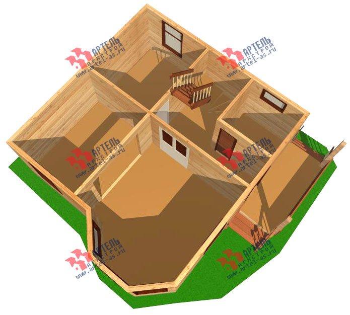 двухэтажный дом из профилированного бруса площадью до 100 кв. м. с  мансардой, эркером, проект Вариант 7 Е-1 фотография 840