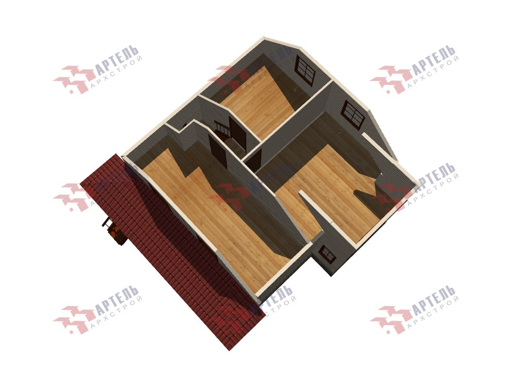 двухэтажный дом из профилированного бруса площадью от 100 до 150 кв. м. с  мансардой, эркером, проект Вариант 7.3 К фотография 5882
