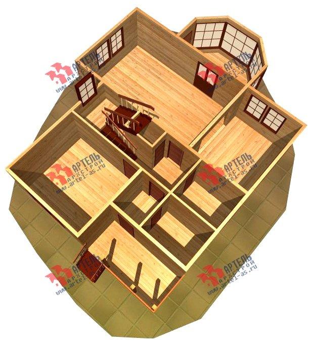 двухэтажный дом из бруса площадью от 150 до 200 кв. м. с  верандой, проект Вариант 8.6 А фотография 1162