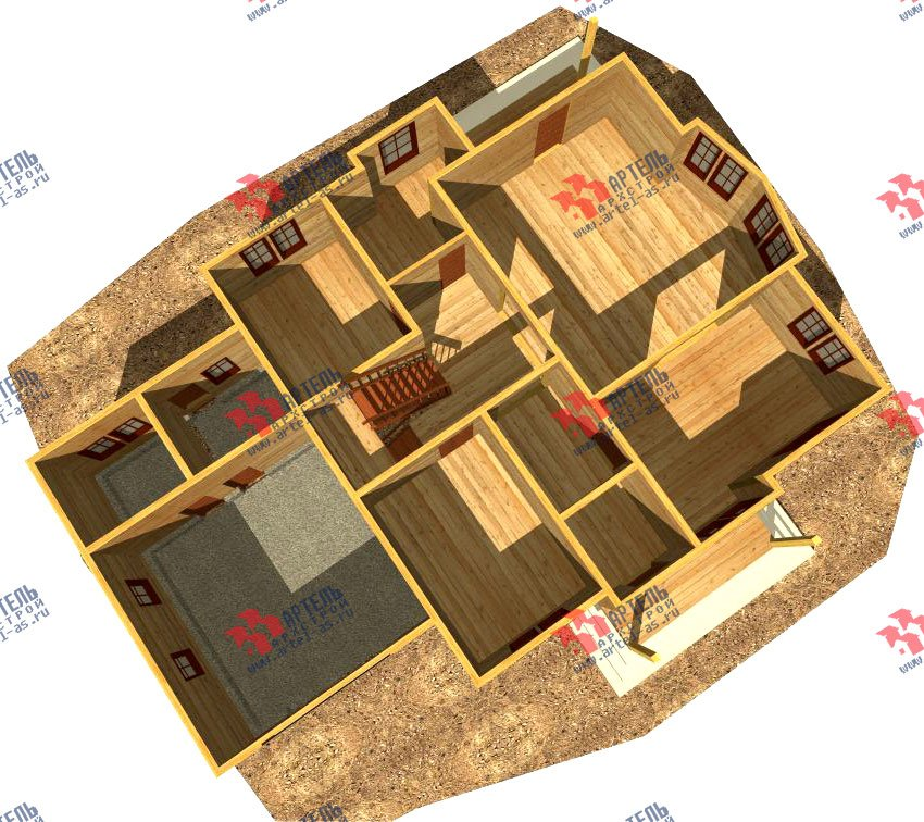 двухэтажный дом из бруса площадью свыше 200 кв. м. с  балконом, гаражом, мансардой, проект Вариант 12.1 А фотография 1415