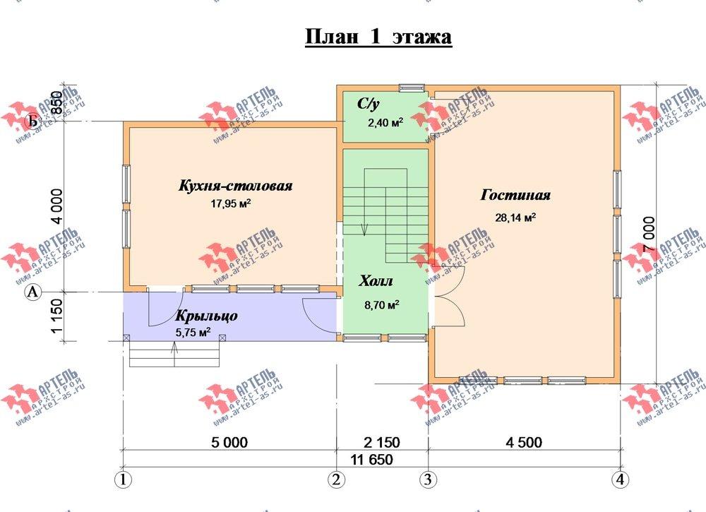 двухэтажный дом из бруса площадью до 100 кв. м. с  мансардой, проект Вариант 7 Л фотография 2167