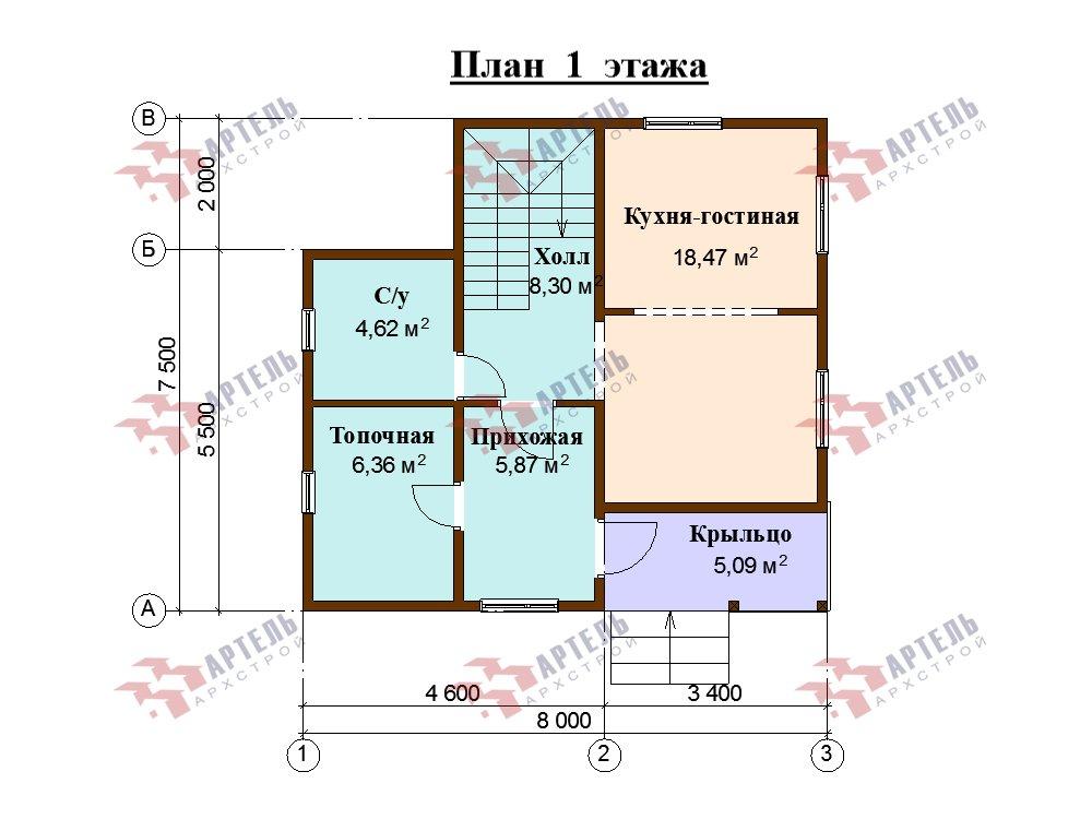 двухэтажный дом из профилированного бруса площадью до 100 кв. м. с  балконом, мансардой, проект Вариант 7.5 Д фотография 5762