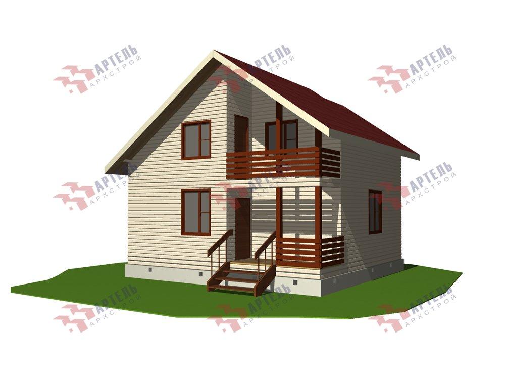 двухэтажный дом из профилированного бруса площадью до 100 кв. м. с  балконом, мансардой, проект Вариант 7.5 Д фотография 5760