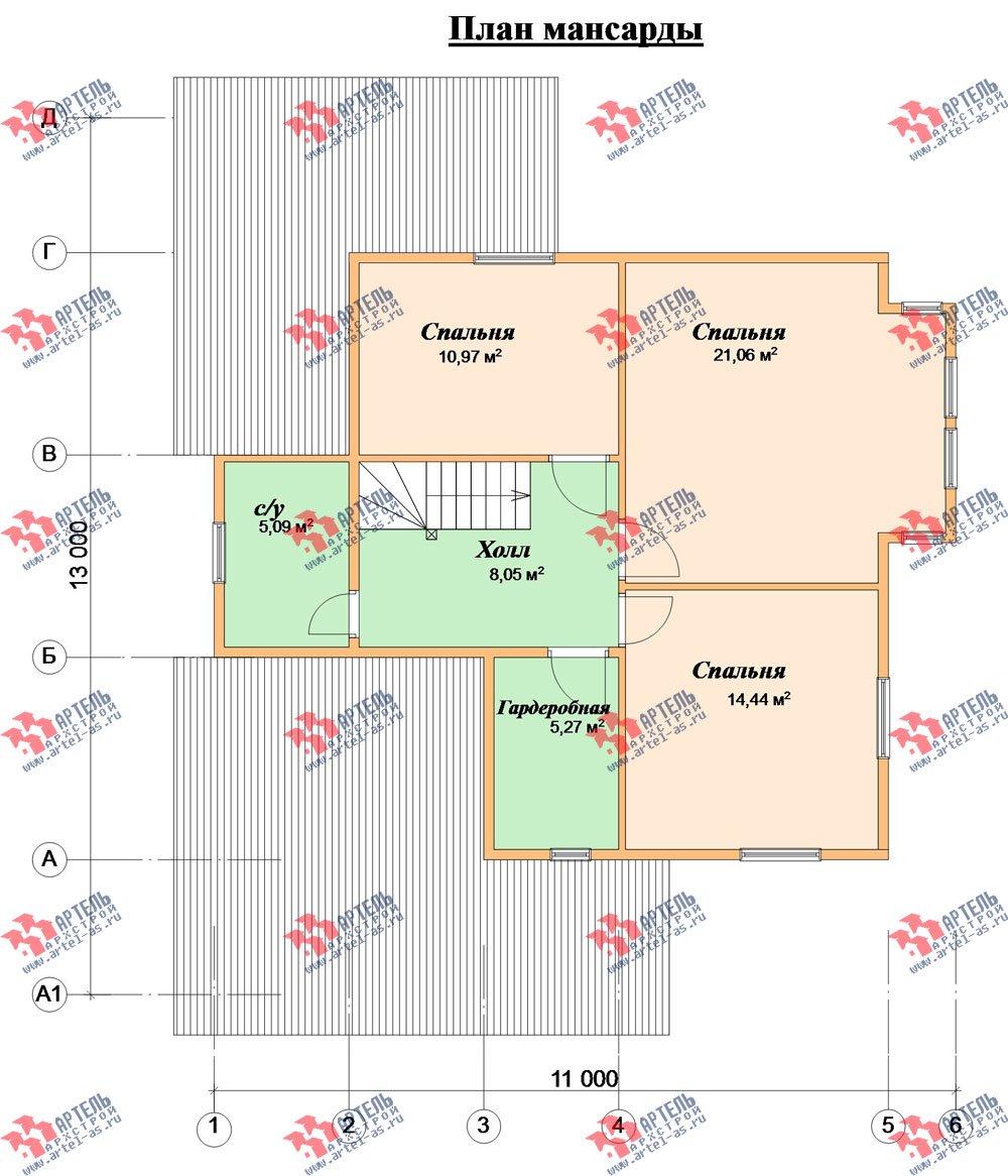 двухэтажный дом из бруса площадью от 150 до 200 кв. м. с  мансардой, террасой, проект Вариант 13 В фотография 2229