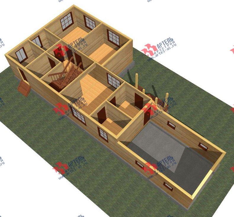 двухэтажный дом из бруса площадью от 150 до 200 кв. м. с  гаражом, мансардой, проект Вариант 8.6 Б фотография 2435