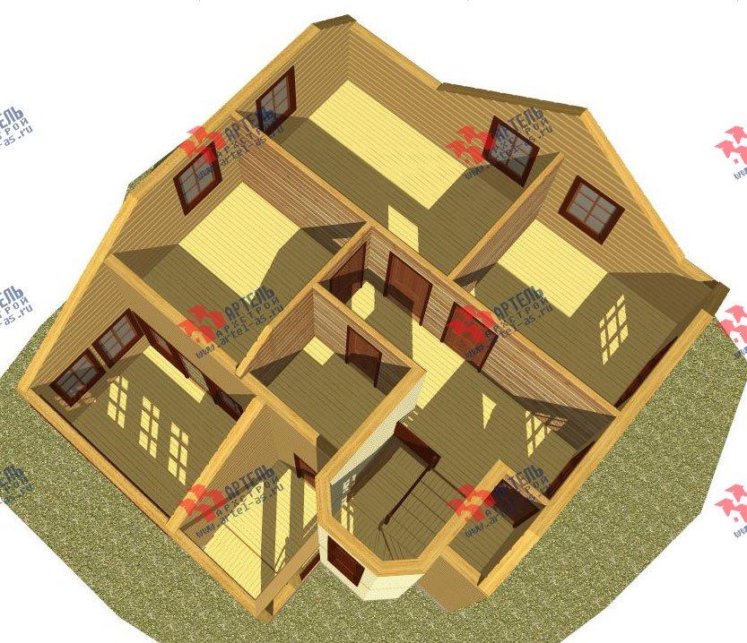 двухэтажный дом из профилированного бруса камерной сушки площадью от 100 до 150 кв. м. с  мансардой, эркером, проект Вариант 2 фотография 2530