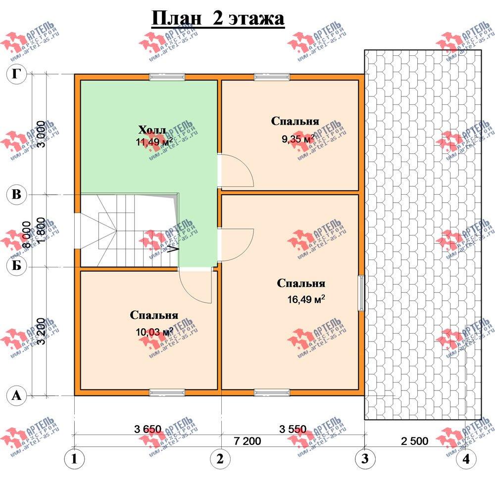 двухэтажный дом из профилированного бруса площадью от 100 до 150 кв. м. с  террасой, проект Вариант 7.2 А фотография 2664
