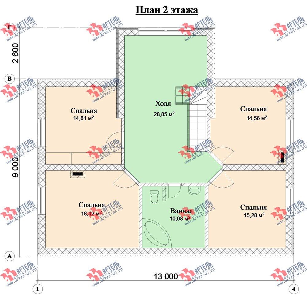 двухэтажный дом из камня площадью свыше 200 кв. м. с  верандой, проект Вариант 22 фотография 2699