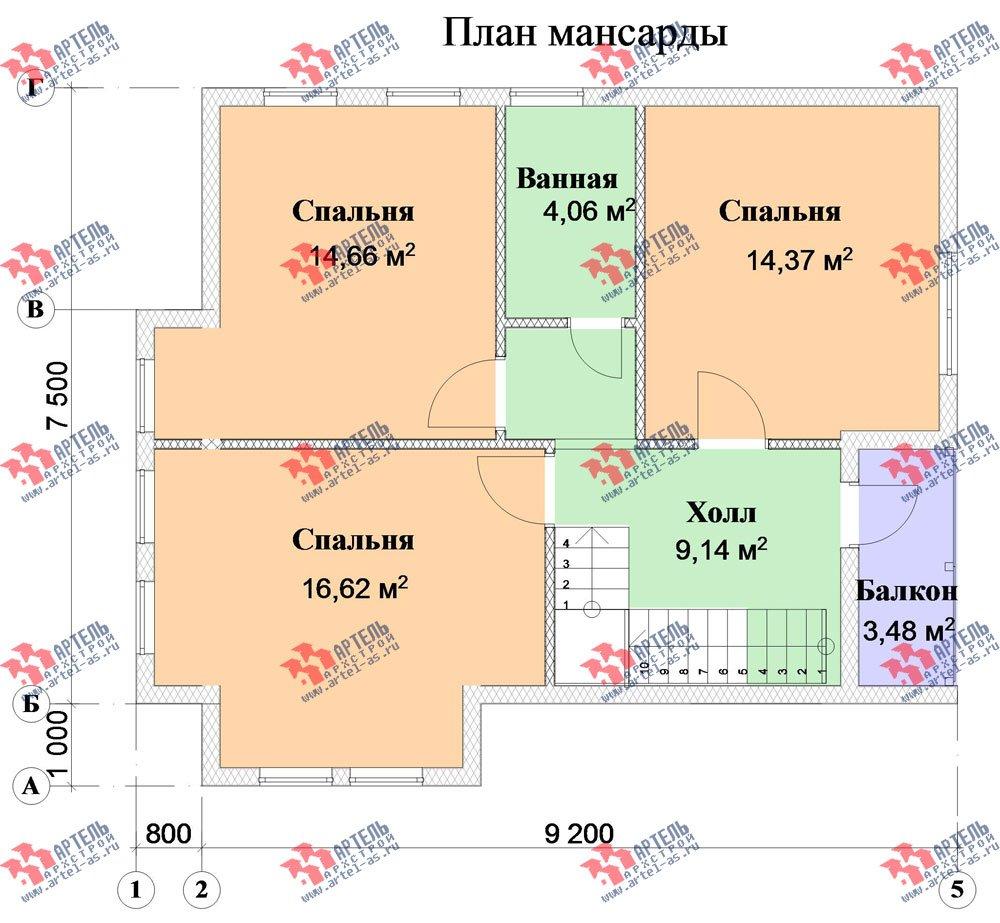двухэтажный дом из профилированного бруса камерной сушки площадью от 100 до 150 кв. м. с  мансардой, проект Вариант 6 фотография 2794