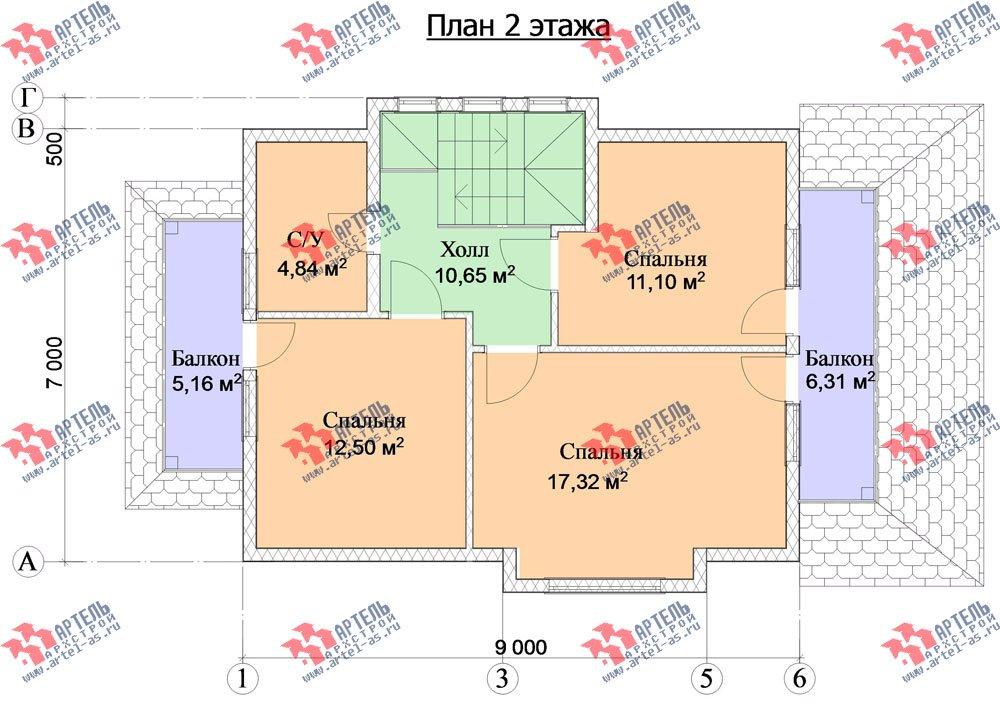 двухэтажный дом из профилированного бруса камерной сушки площадью от 100 до 150 кв. м. с  балконом, террасой, эркером, проект Вариант 9 фотография 2999