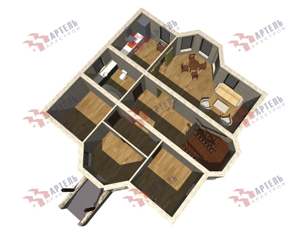двухэтажный дом из камня площадью от 150 до 200 кв. м. с  террасой, эркером, проект Вариант 10,6К Каменный фотография 6247