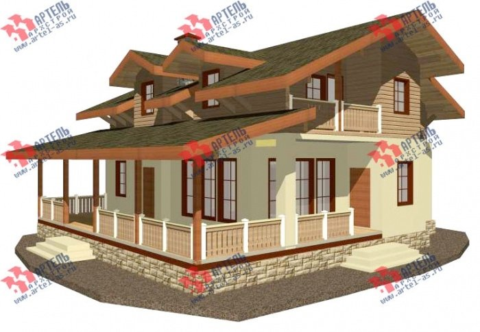 двухэтажный дом омбинированные дома площадью свыше 200 кв. м. с  балконом, террасой, эркером, проект Вариант 10.8 А Комбинированный фотография 4779
