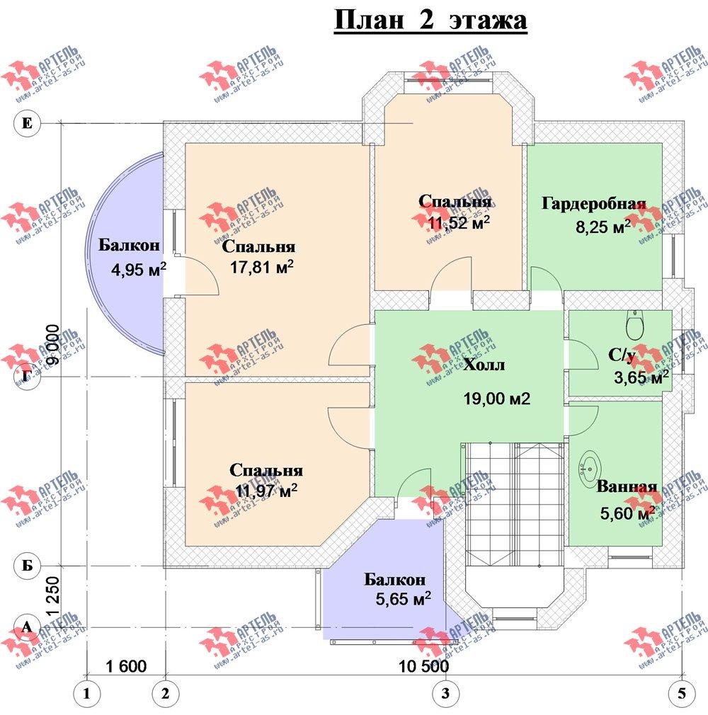 двухэтажный дом из камня площадью от 150 до 200 кв. м. с  балконом, эркером, проект Вариант 25 фотография 2947