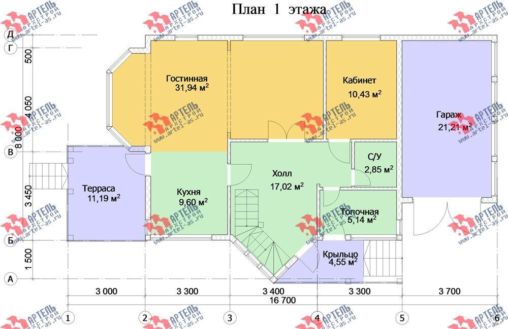 двухэтажный дом из бруса площадью от 150 до 200 кв. м. с  мансардой, террасой, эркером, проект Вариант 10 фотография 3009