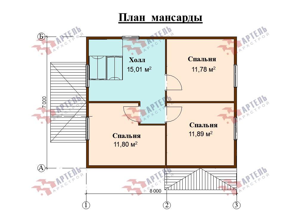 двухэтажный дом из профилированного бруса площадью от 100 до 150 кв. м. с  мансардой, эркером, проект Вариант 7 И фотография 5866