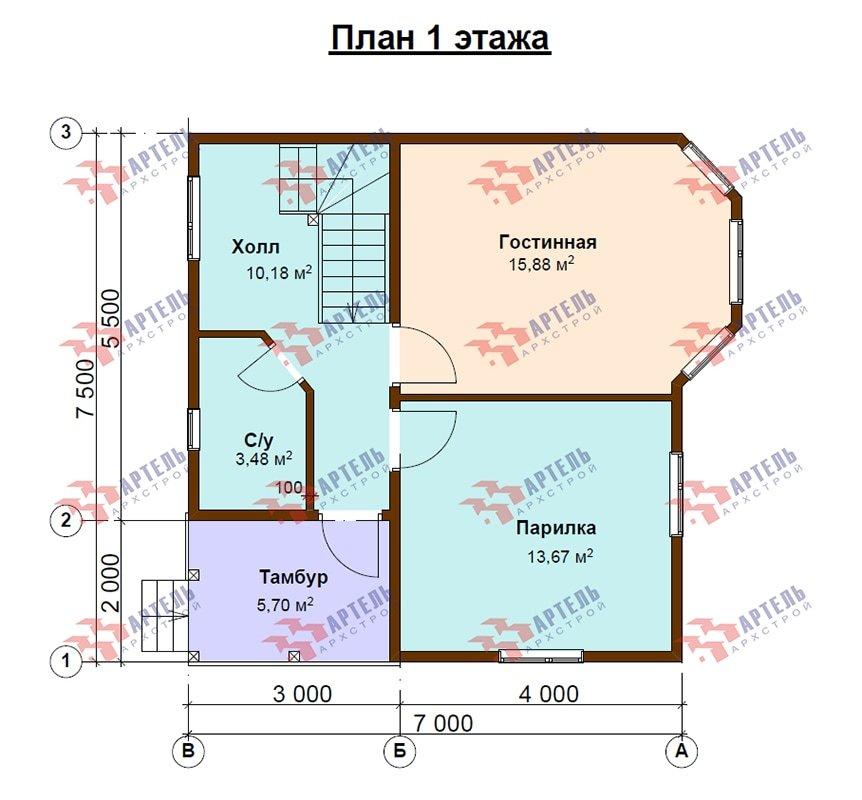 двухэтажный дом из профилированного бруса площадью до 100 кв. м. с  мансардой, эркером, проект Вариант 7 Д фотография 4867