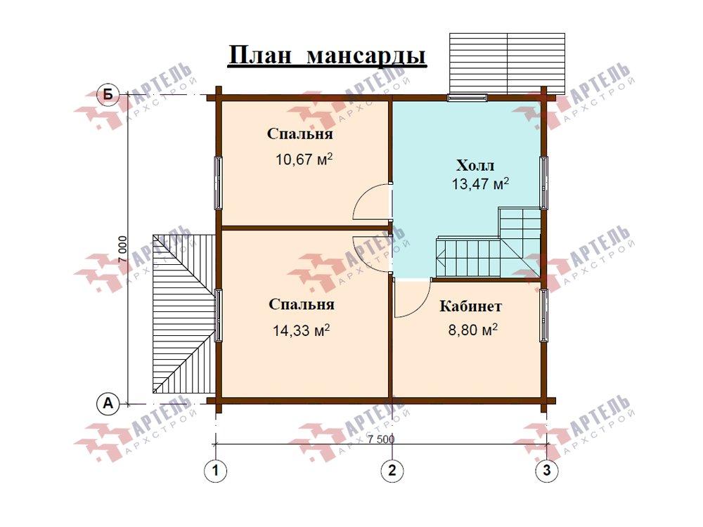 двухэтажный дом из профилированного бруса площадью до 100 кв. м. с  мансардой, эркером, проект Вариант 7 Г фотография 5812