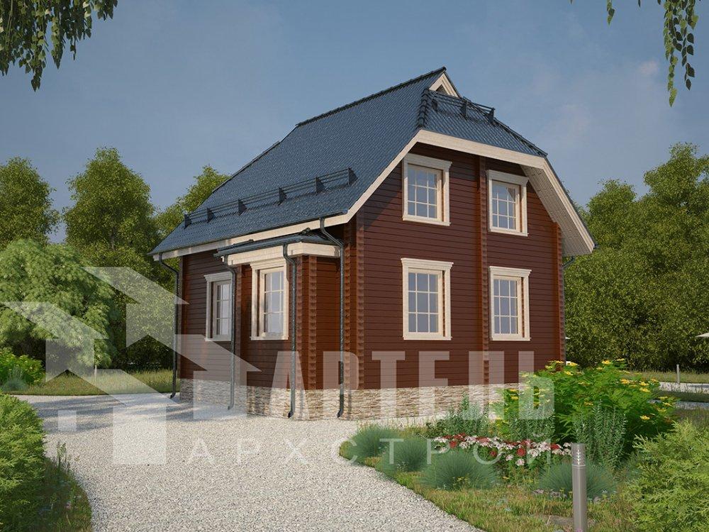 двухэтажный дом из профилированного бруса площадью от 100 до 150 кв. м. с  мансардой, эркером, проект Вариант 7 И фотография 3970