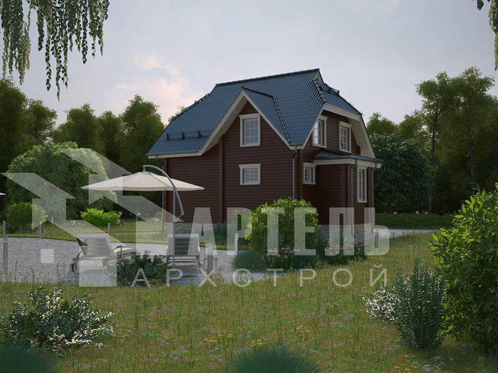 двухэтажный дом из профилированного бруса площадью от 100 до 150 кв. м. с  мансардой, эркером, проект Вариант 7 И фотография 3972
