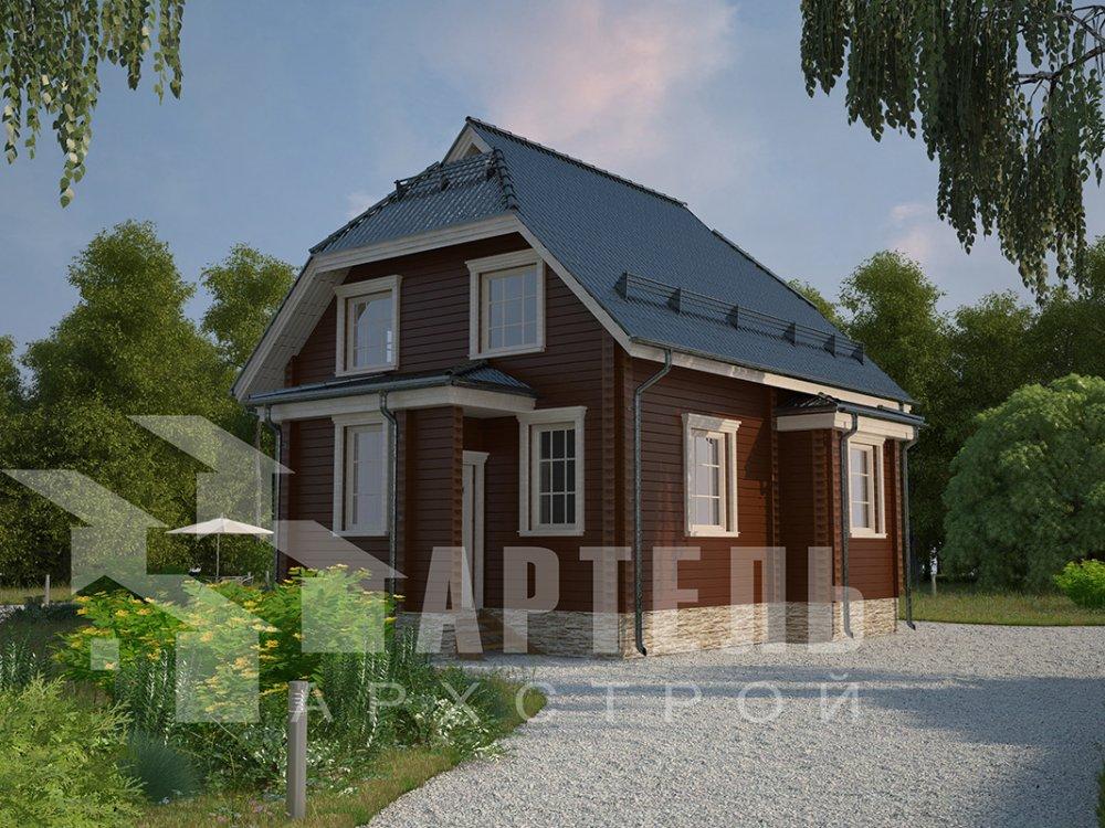 двухэтажный дом из профилированного бруса площадью от 100 до 150 кв. м. с  мансардой, эркером, проект Вариант 7 И фотография 3973