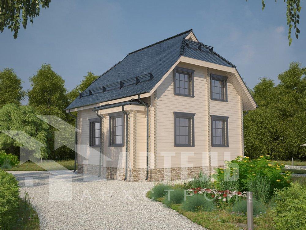двухэтажный дом из профилированного бруса площадью от 100 до 150 кв. м. с  мансардой, эркером, проект Вариант 7 И фотография 3975