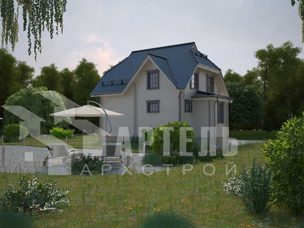 двухэтажный дом из профилированного бруса площадью от 100 до 150 кв. м. с  мансардой, эркером, проект Вариант 7 И фотография 3978