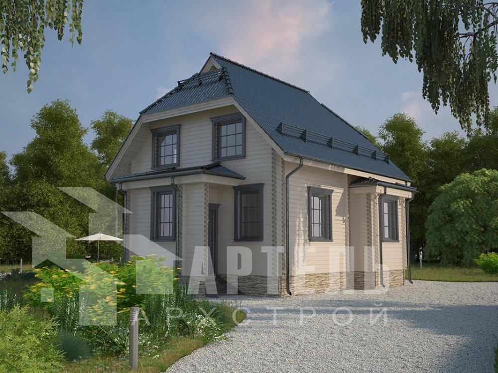 двухэтажный дом из профилированного бруса площадью от 100 до 150 кв. м. с  мансардой, эркером, проект Вариант 7 И фотография 3979
