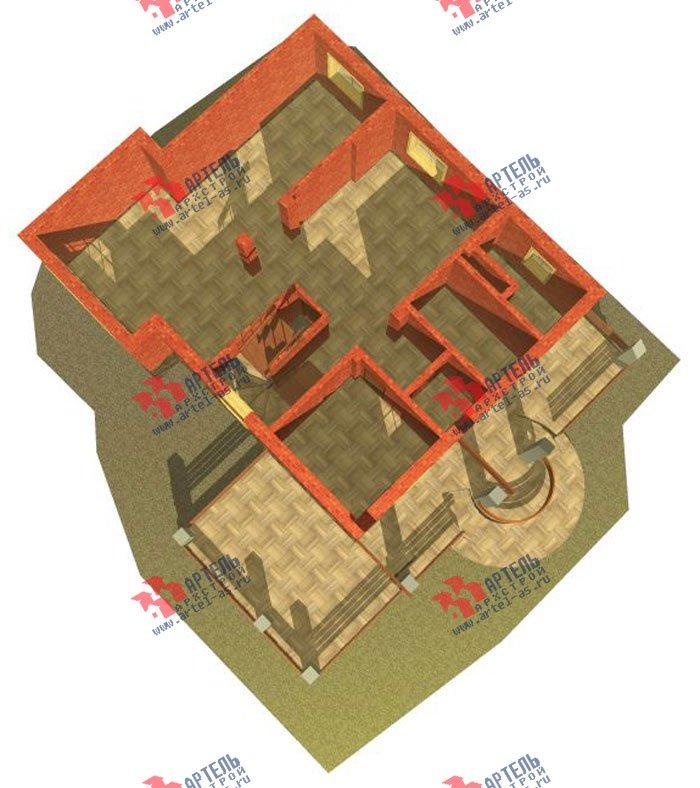 трёхэтажный дом из камня площадью свыше 200 кв. м. с  балконом, верандой, мансардой, проект Вариант 21 фотография 658