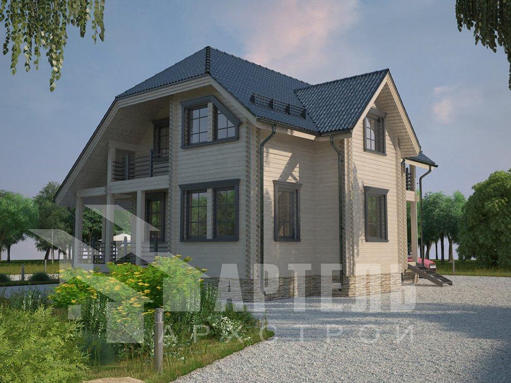 двухэтажный дом из профилированного бруса площадью от 100 до 150 кв. м. с  верандой, мансардой, эркером, проект Вариант 8.2 К фотография 4517