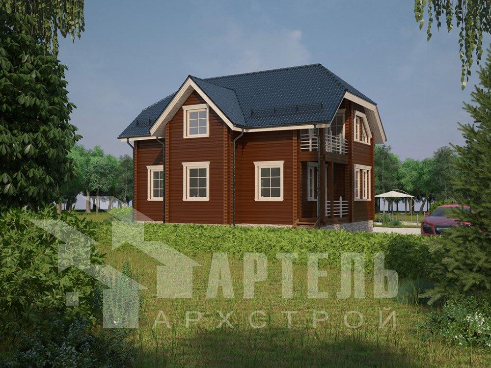 двухэтажный дом из профилированного бруса площадью от 100 до 150 кв. м. с  верандой, мансардой, эркером, проект Вариант 8.2 К фотография 4508