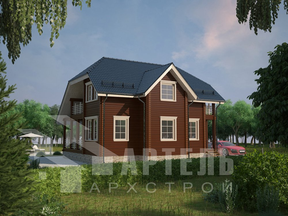 двухэтажный дом из профилированного бруса площадью от 100 до 150 кв. м. с  верандой, мансардой, эркером, проект Вариант 8.2 К фотография 4507