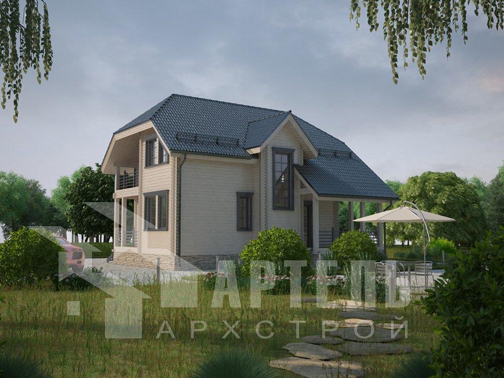 двухэтажный дом из профилированного бруса площадью от 100 до 150 кв. м. с  верандой, мансардой, эркером, проект Вариант 8.2 К фотография 4515