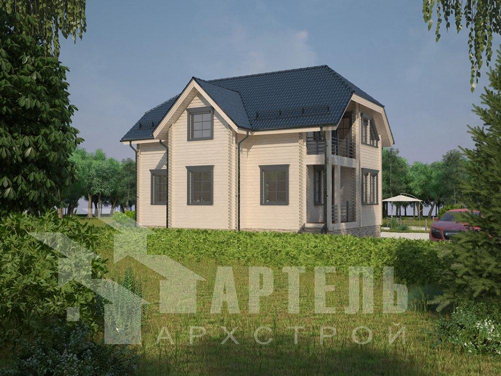 двухэтажный дом из профилированного бруса площадью от 100 до 150 кв. м. с  верандой, мансардой, эркером, проект Вариант 8.2 К фотография 4513