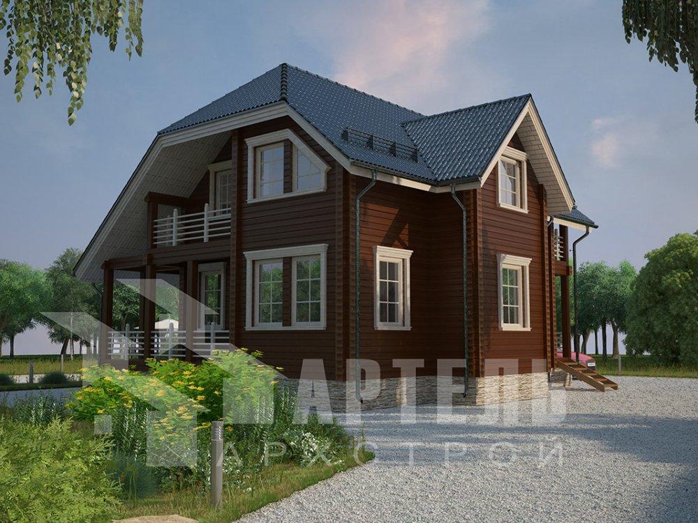 двухэтажный дом из профилированного бруса площадью от 100 до 150 кв. м. с  верандой, мансардой, эркером, проект Вариант 8.2 К фотография 4511