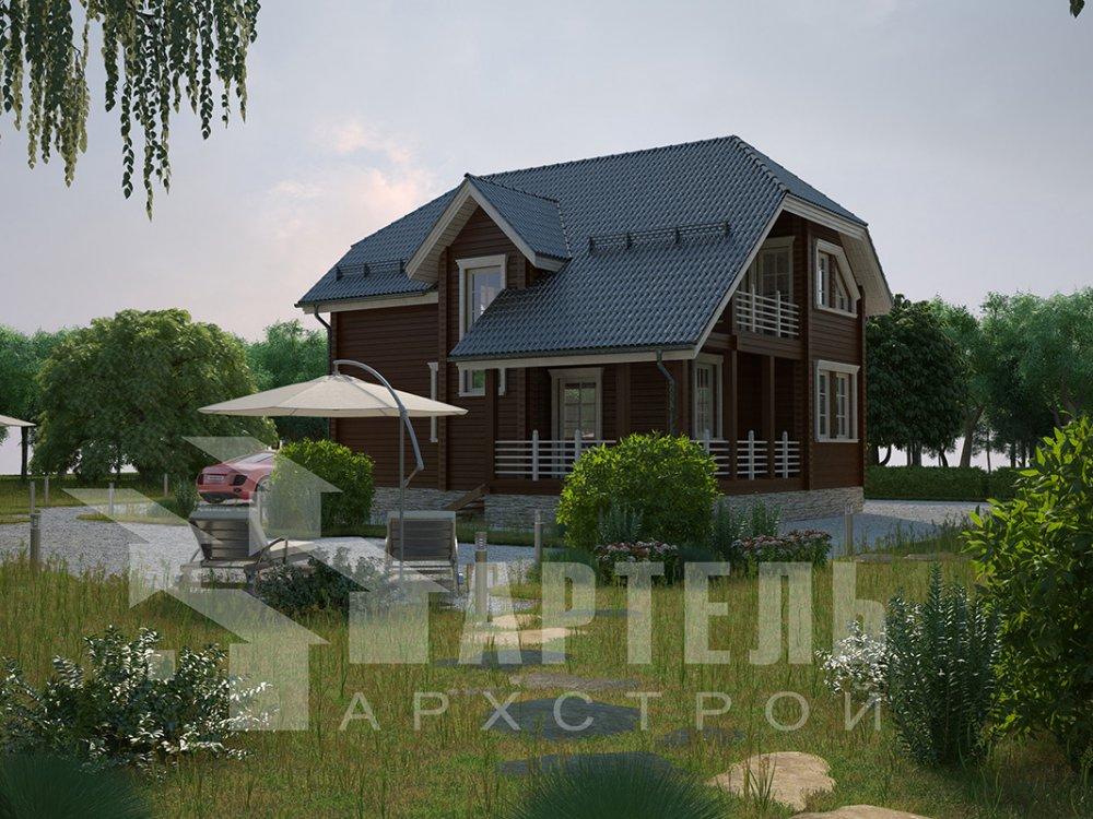 двухэтажный дом из профилированного бруса площадью от 100 до 150 кв. м. с  верандой, мансардой, эркером, проект Вариант 8.2 К фотография 4510