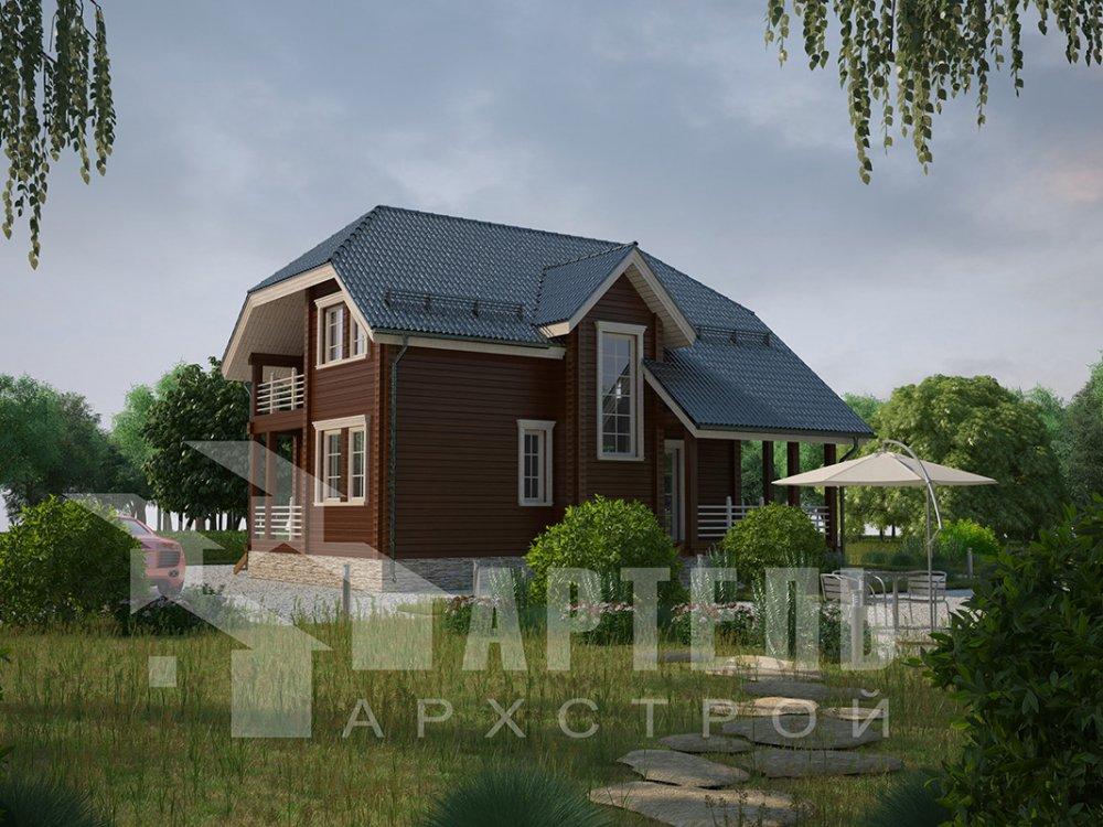 двухэтажный дом из профилированного бруса площадью от 100 до 150 кв. м. с  верандой, мансардой, эркером, проект Вариант 8.2 К фотография 4509