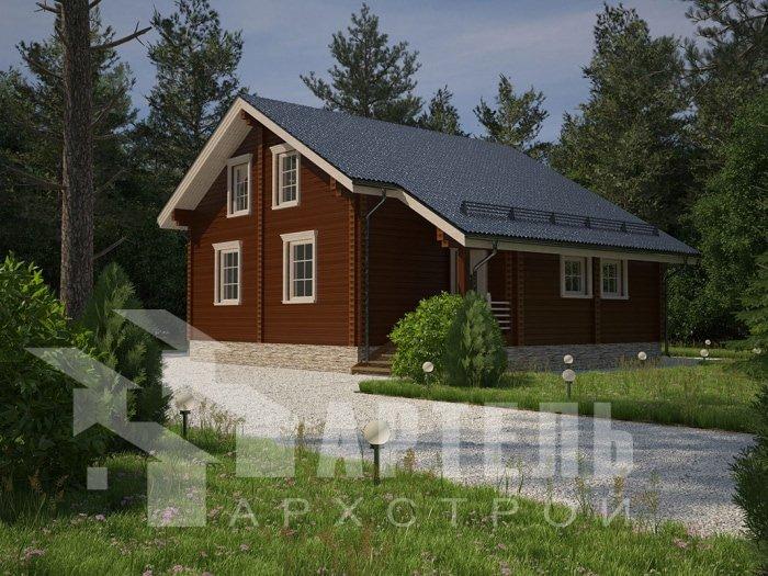 двухэтажный дом из профилированного бруса площадью от 150 до 200 кв. м. с  мансардой, террасой, проект Вариант 8.3 А фотография 4712