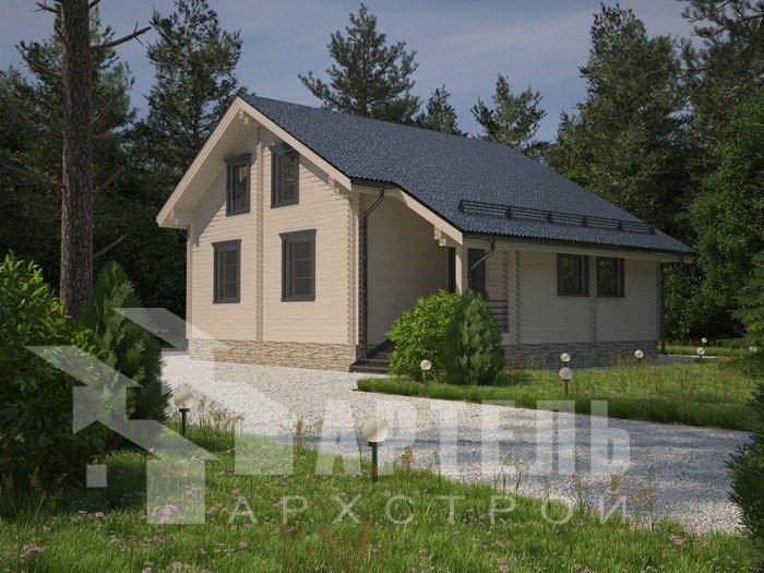 двухэтажный дом из профилированного бруса площадью от 150 до 200 кв. м. с  мансардой, террасой, проект Вариант 8.3 А фотография 4706