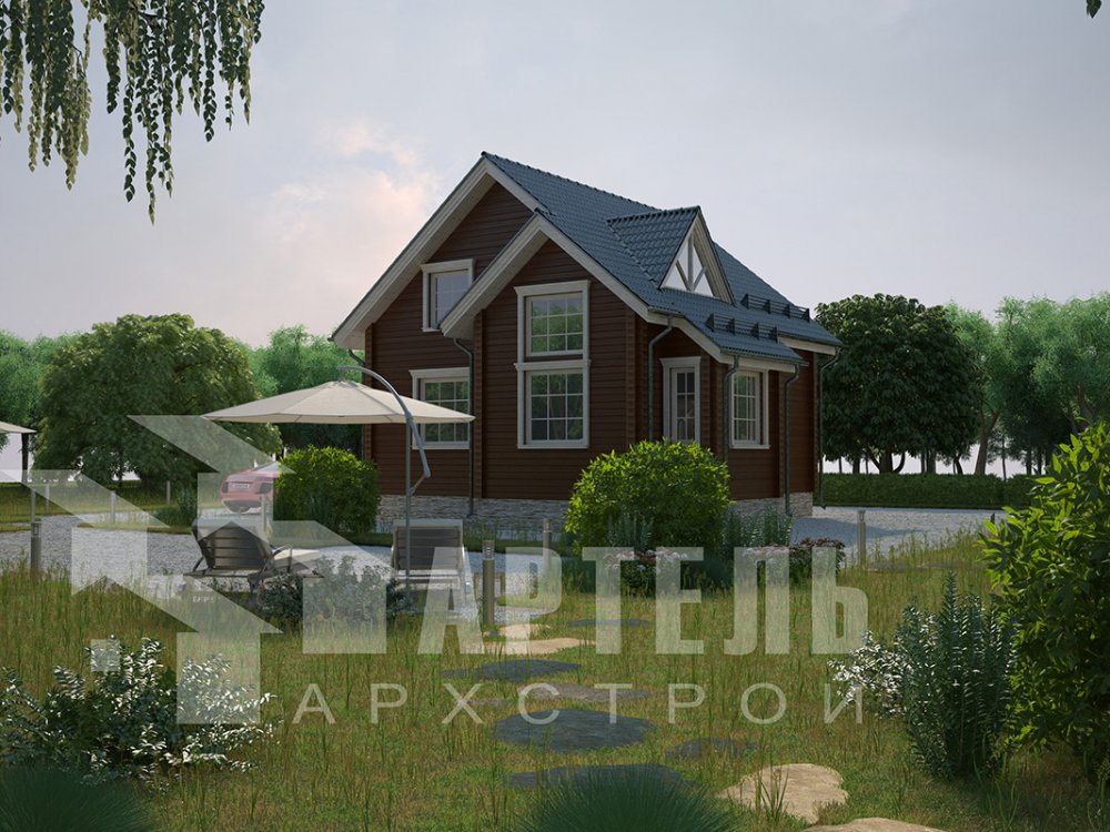 двухэтажный дом из профилированного бруса площадью от 100 до 150 кв. м. с  мансардой, эркером, проект Вариант 8.5 Б фотография 4073