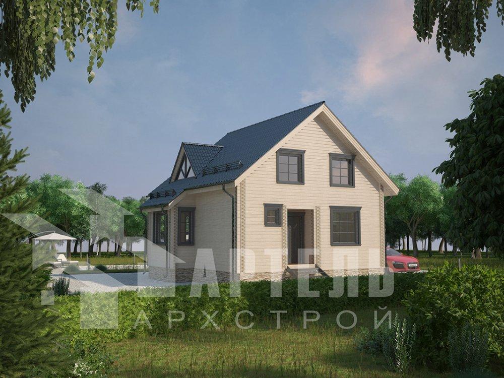 двухэтажный дом из профилированного бруса площадью от 100 до 150 кв. м. с  мансардой, эркером, проект Вариант 8.5 Б фотография 4071