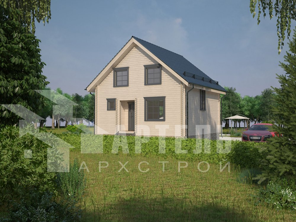 двухэтажный дом из профилированного бруса площадью от 100 до 150 кв. м. с  мансардой, эркером, проект Вариант 8.5 Б фотография 4070