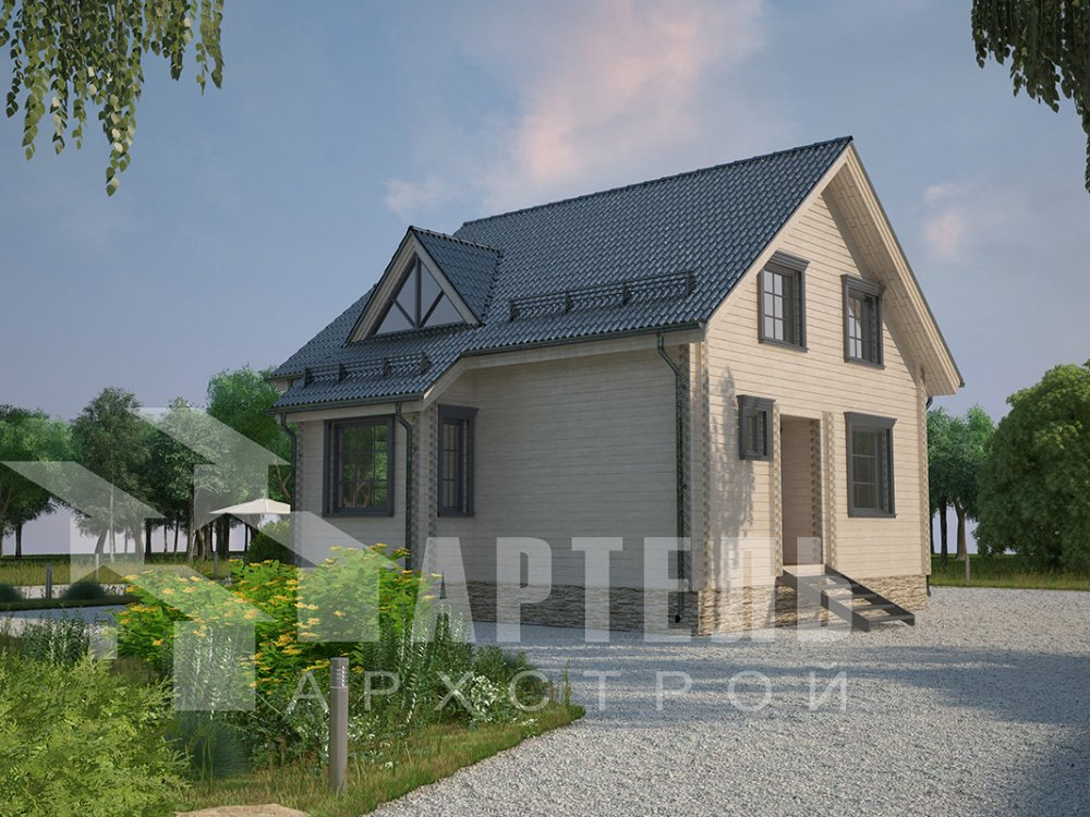 двухэтажный дом из профилированного бруса площадью от 100 до 150 кв. м. с  мансардой, эркером, проект Вариант 8.5 Б фотография 4066
