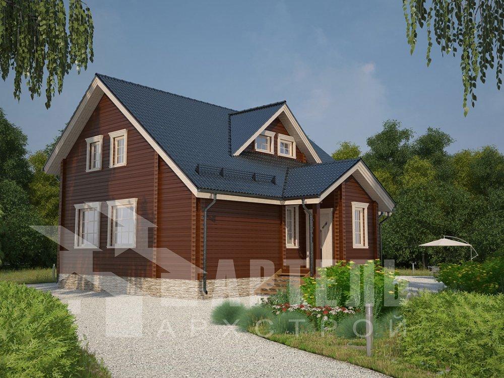 двухэтажный дом из профилированного бруса площадью от 150 до 200 кв. м. с  мансардой, террасой, проект Вариант 8.5 Л фотография 4535