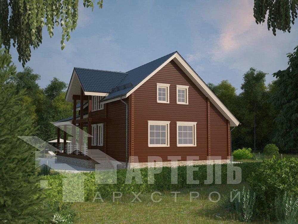 двухэтажный дом из профилированного бруса площадью от 150 до 200 кв. м. с  мансардой, террасой, проект Вариант 8.5 Л фотография 4532