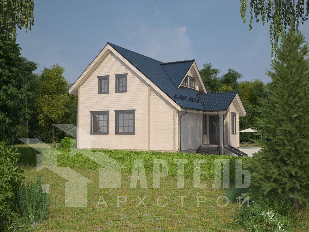 двухэтажный дом из профилированного бруса площадью от 150 до 200 кв. м. с  мансардой, террасой, проект Вариант 8.5 Л фотография 4540